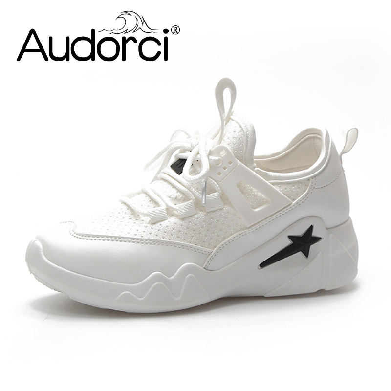Audorci 2018 Summer Fashion Women Sneakers Shoes Woman Outdoor Comfortable Casual Flats Shoe Female White Shoes Size 35-40