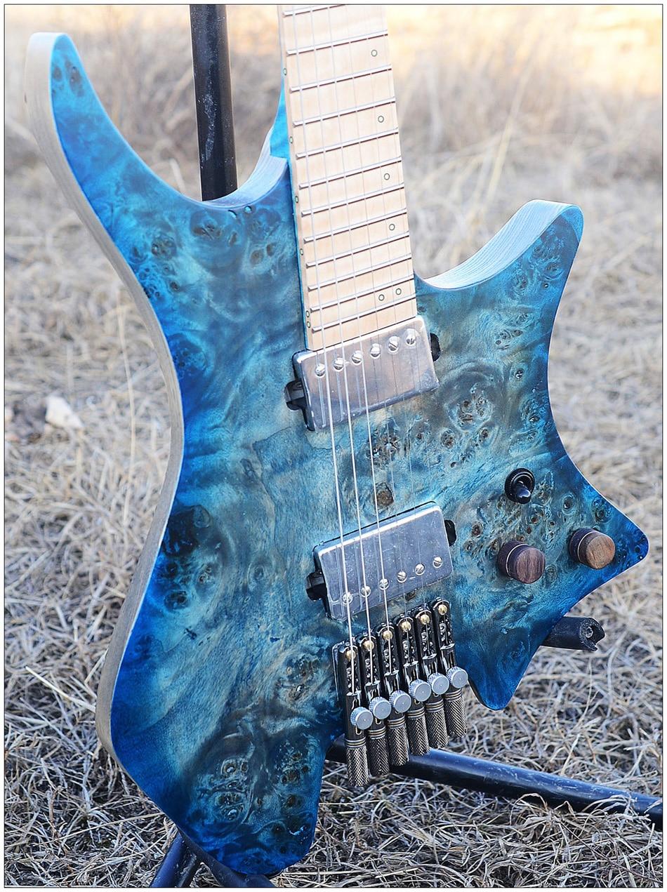 2019 Nova NK Headless guitarra Traste Abanou guitarras Modelo estilo blue Eye Poplar Folheado maple top Chama Guitarra Pescoço livre grátis