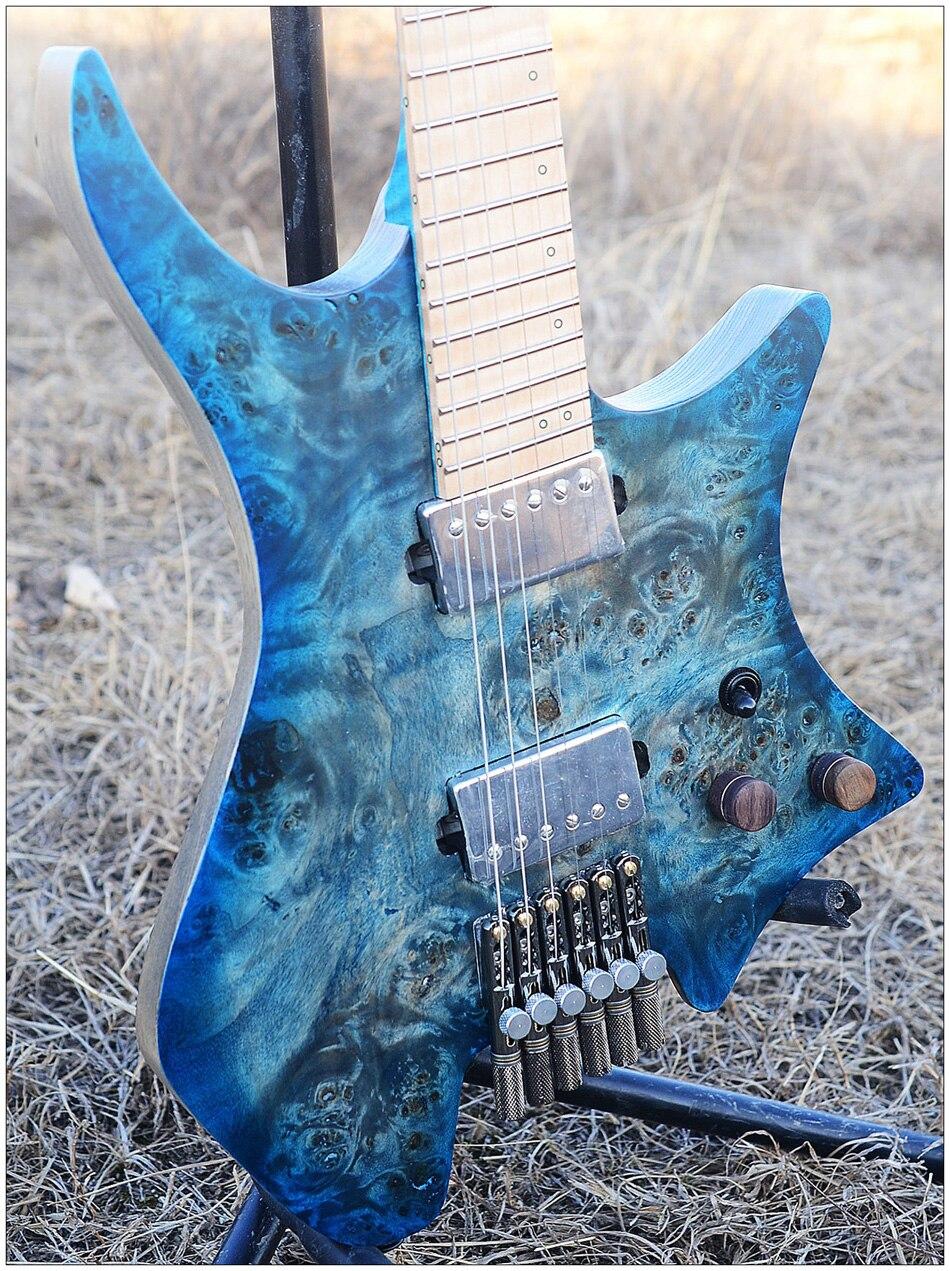 2019 nouveau NK guitare sans tête Fanned Fret guitares style modèle bleu oeil peuplier placage haut flamme érable cou guitare livraison gratuite