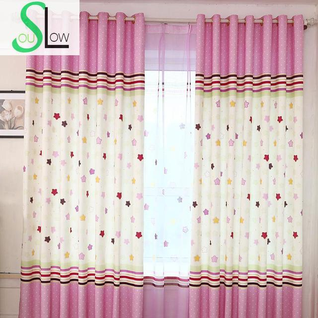 Slow Soul Blue Pink Round Pollen Star Curtain Bedroom Cartoon Curtains For  Living Room Kitchen Baby