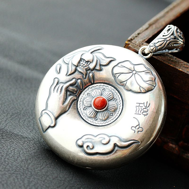 Buddhist sutra Silver Pendant 990 Sterling Silver Pendant wheel sutra