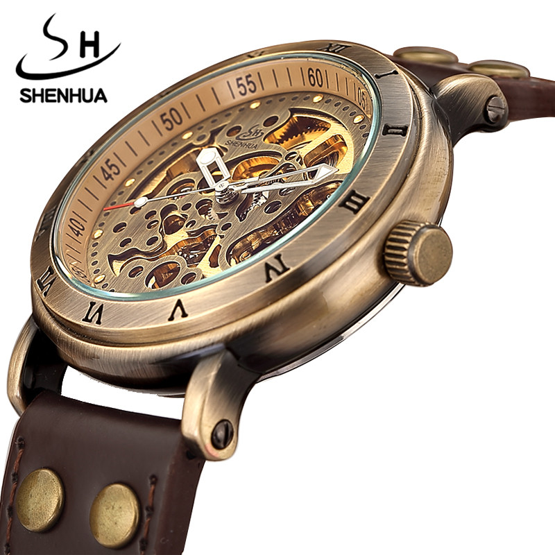 Vintage Hollow Bronze Skeleton Automatic Mechanical Watches Men's Steampunk Leather Brand Unique Self-wind Mechanical Wristwatch retro hollow skeleton automatic mechanical watches men s steampunk bronze leather brand unique self wind mechanical wristwatches