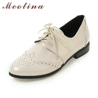 Meotina Women Oxfords Flats Shoes Lace Up Pointed Toe Brand Fashion Causal Brogue Shoes Women Beige