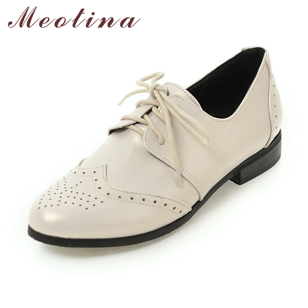 Meotina Women Oxfords Flats Shoes Lace Up Pointed Toe Brand Fashion Causal Brogue Shoes Women Beige Black Large Size 11 12 45 46 enmayer pointed toe summer shallow flats slip on luxury brand shoes women plus size 35 46 beige black flats shoe womens