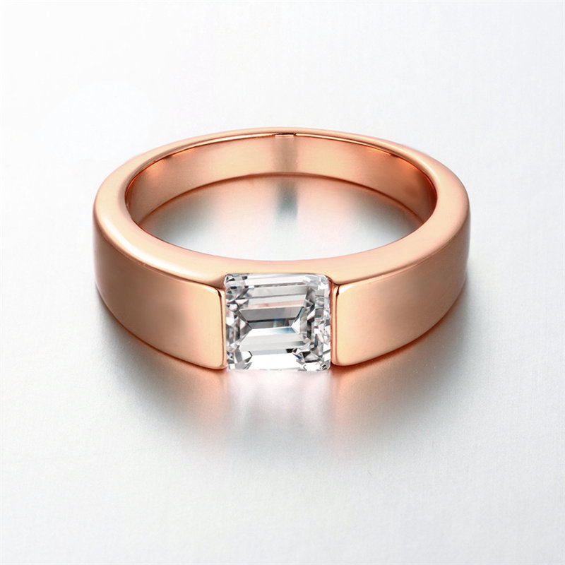 Top 24K Yellow Gold / Rose Gold / White Gold Color Men Ring, Square  DD41