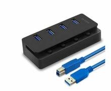 Новый USB концентратор 3,0 Супер скорость 5 Гбит/с 4 порта USB 3,0 usb-хаб с переключателем для компьютерных периферийных устройств