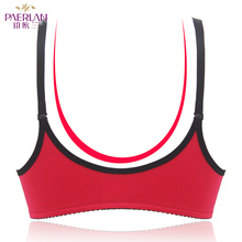 PAERLAN Wireless front button female bra sexy lace   color block a piece glossy seamless push up  Wire Free underwear Women