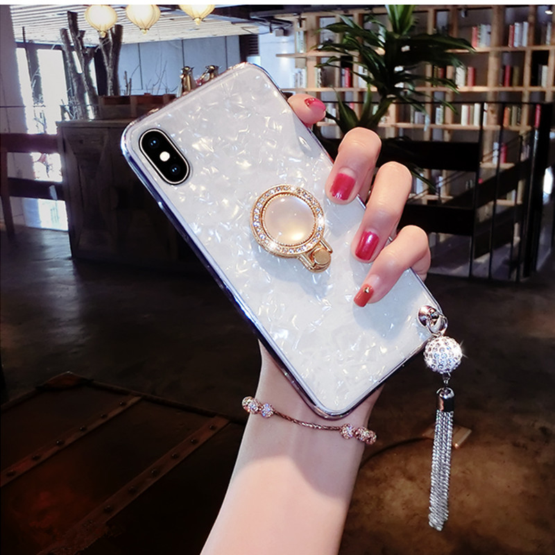 Rhinestone Diamond Shell Phone Case For Samsung S10 Lite S10 Plus S9 S8 Plus S7 Edge Note 9 Note 8 Soft Ring Stand Cover Coque in Rhinestone Cases from Cellphones Telecommunications
