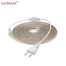 цена LAIMAIK 40M 50M 60M 100M LED Strip 220V AC Waterproof 120LEDs/M SMD3014 Garden Outdoor lights Holiday Christmas Deccoration lamp