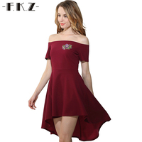 FKZ Summer Women Cute Pleated Black Dress Short Sleeve Slash Neck Ladies Red&Blue Backless Off Shoulder Evening Party Dresses