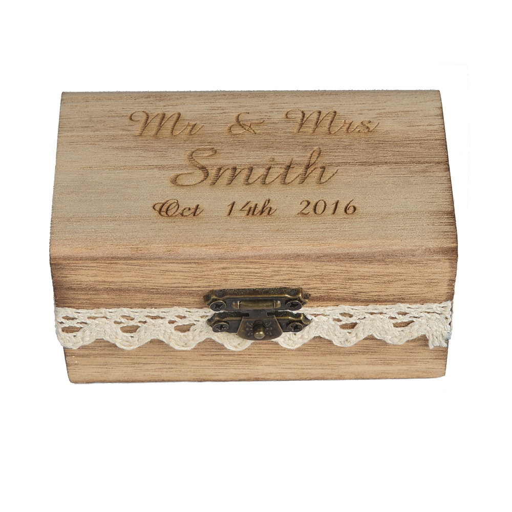 1 piece Personalized Laser Engraved Rustic Bearer Retro Wood Ring Box Wdding Decor Favors PRB01S