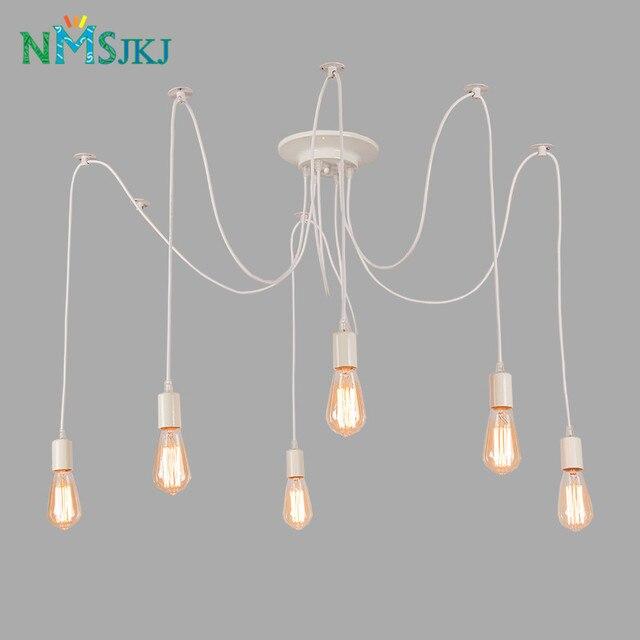 Rétro edison ampoule lumière araignée blanc plafond lustre lampe pour salon moderne suspendus salle à manger