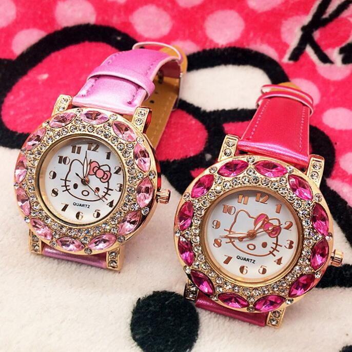 Cartoon Fashion Brand Hello Kitty Quartz Watch Children Girl Women Leather Crystal Wrist Watch Kids Wristwatch Clock relogio цена