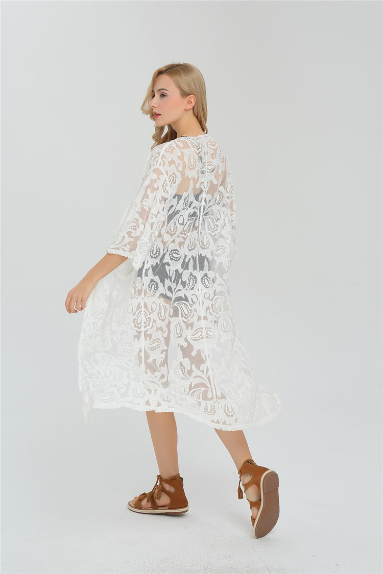 8ab25125f511c0 Cool Borduren Sexy Kant Bikini Cover Vest Blouse Vrouwen 2017 Zomer ...