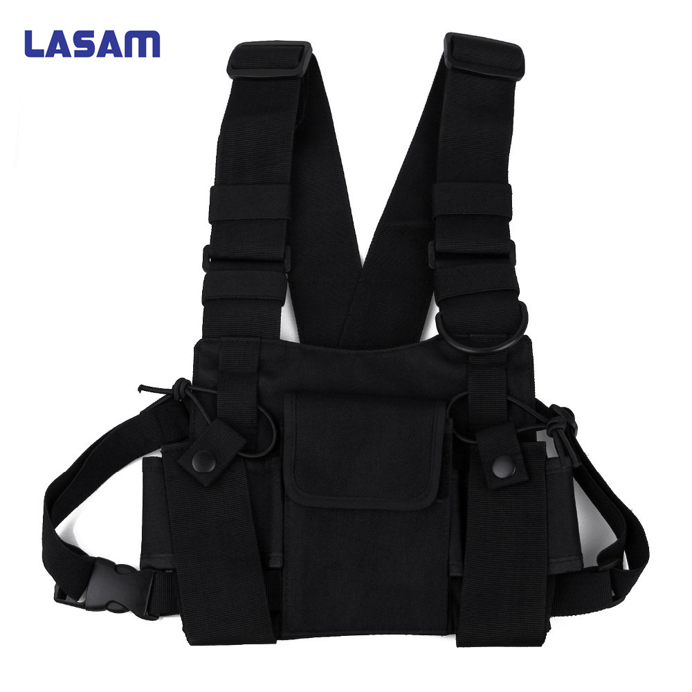 LASAM Universal Walkie Talkie Carry Case For Walkie Talkie Double chest Pocket Black Backpack For Handy CB Radio