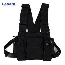 Lasam العالمي يتحملها ل اسلكية تخاطب مزدوجة الصدر جيب سوداء لل مفيد cb الراديو