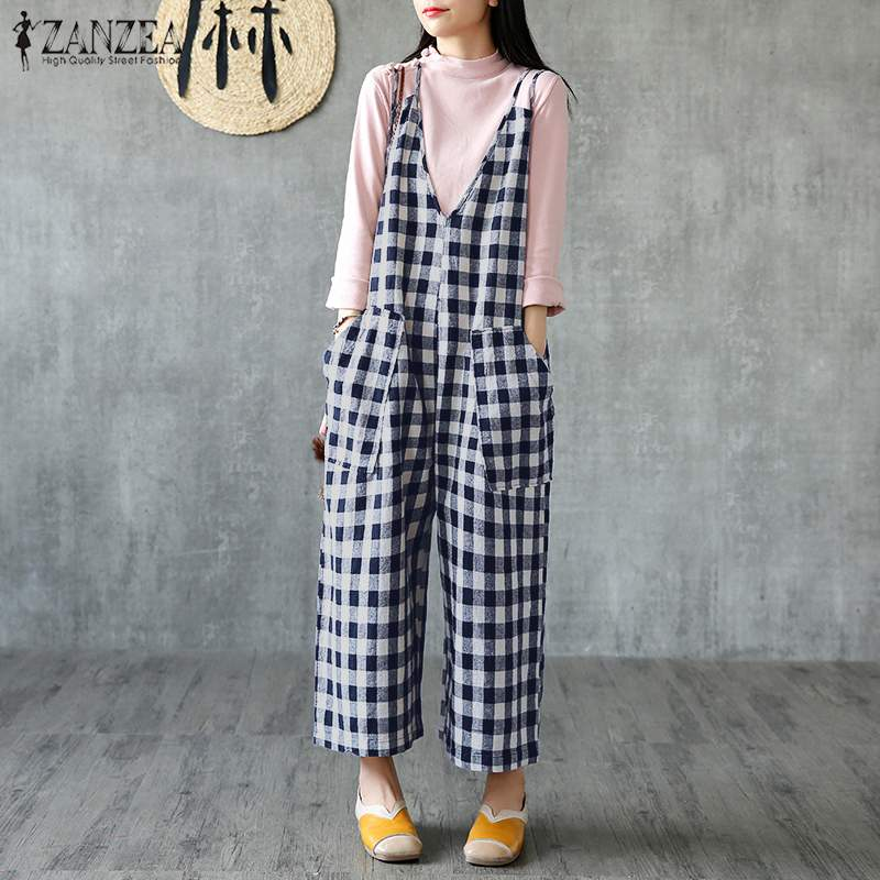 2020 ZANZEA Vintage Checked Overalls Women's Jumpsuits Casual Female Plaid Wide Leg Rompers Plus Size Pants Macacao Feminino
