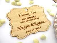 Personalized Engraved Thank You Wedding Tags Rustic Labels Wooden Hang Tags Rustic Wedding Bridal Shower