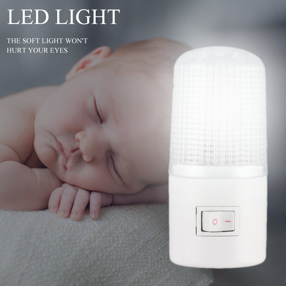 Household Night Lamp Warm Light Wall Mounting Bedroom Night Light Lamp 1W 6 LED 110V With US Plug Energy Saving