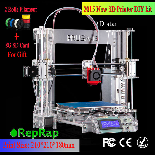 100% Brand new Full acrylic Upgraded Prusa-i3 DIY 3d Printer kit P802 High Precision Reprap kits Bowden extruder free shipping