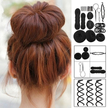 Fancy Women Hair Accessories Set Hairpins Clips Bun Maker Pads Roller Braids Hair Twist Magic Sponge Tools L3