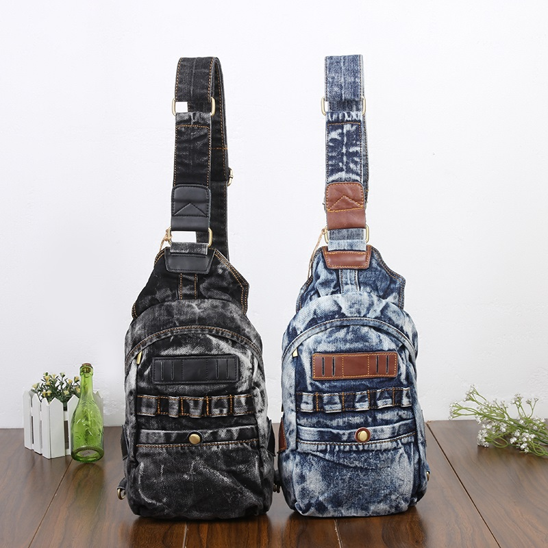 Vintage Fashion Casual One Shoulder Denim Small Backpacks Bags Jeans Men Women Messager Daypacks Cross Body Chest Bag top brand men baggy jeans denim loose washing jeans men hip hop jeans boys casual skateboard relaxed fit jeans mens harem pants