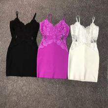 Новое поступление, летнее сексуальное кружевное черное, белое, Пурпурное Бандажное платье, дизайнерское модное платье Vestidos