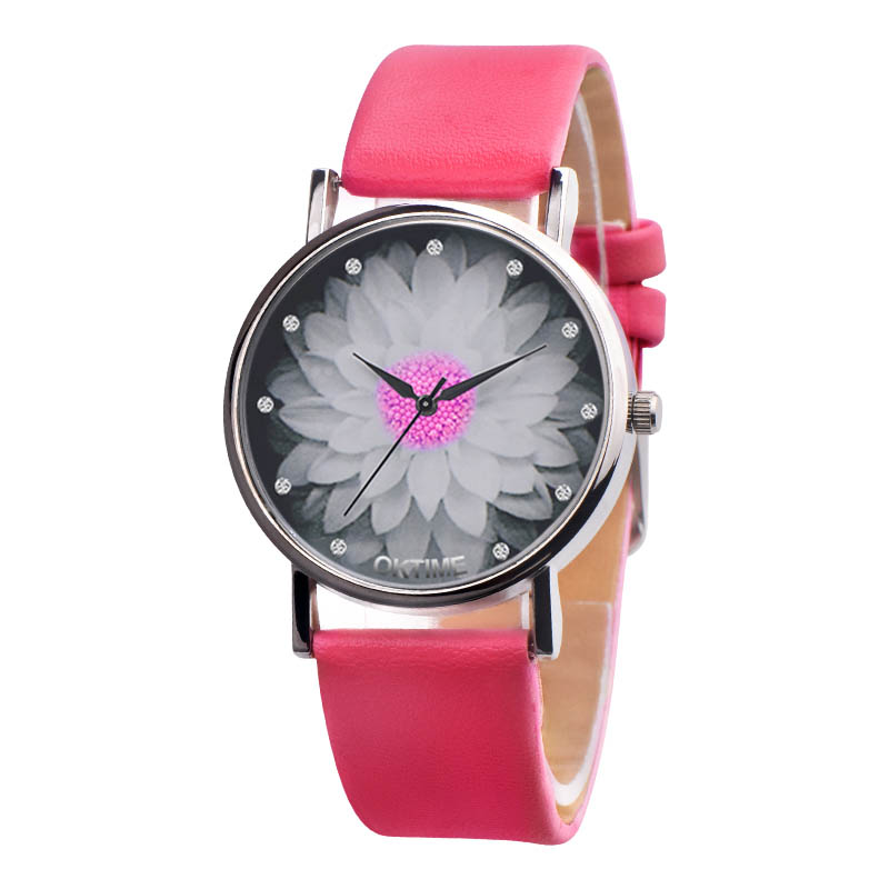 Women Colors Lotus Flower Dial Analog Quartz Watch Vogue PU Leather Band Wristwatch Gift LL@17