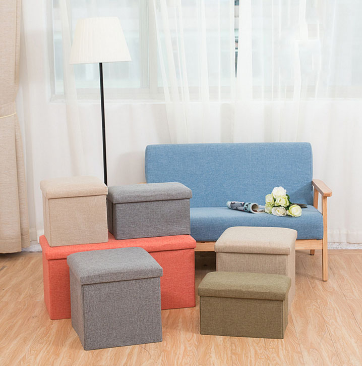 цены Folding Storage Stool Sofa Chair Footstools/Ottomans Portable Furniture Stool With Cloth Cover Seat Cushion