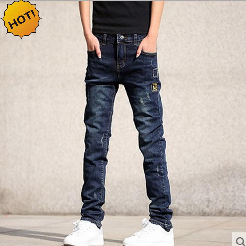 Wholesale Teenagers Jeans Skinny Embroidered patch Hole Ripped Pencil Pants Distressed Boys Stretch Hip Hop Bottoms Men 28-36