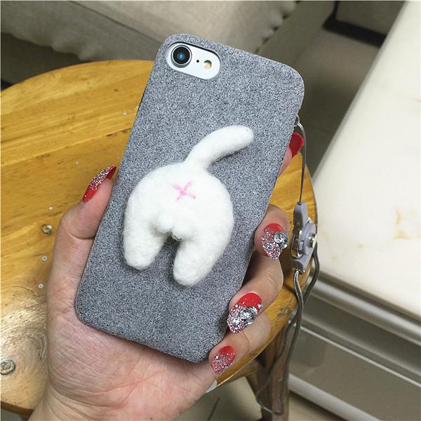 Corgi case handmake igły filcu wełnianego słodkie cat dog tyłek tyłek pokrywa dla apple iphone 6 6s plus iphone 7 7 p miękkie telefon komórkowy case 24
