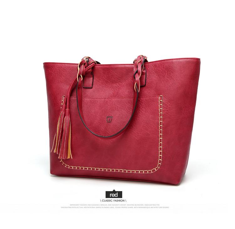 Tinkin  Vintage PU Tassel Women Shoulder Bag Female Retro Daily Causal Totes Lady Elegant Shopping Handbag 10