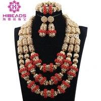 2017 Nigerian African Wedding Coral Jewelry Jewellery Set Fabulous Dubai Gold Bridal Jewelry Sets Maxi Necklace Set Gift ABH456