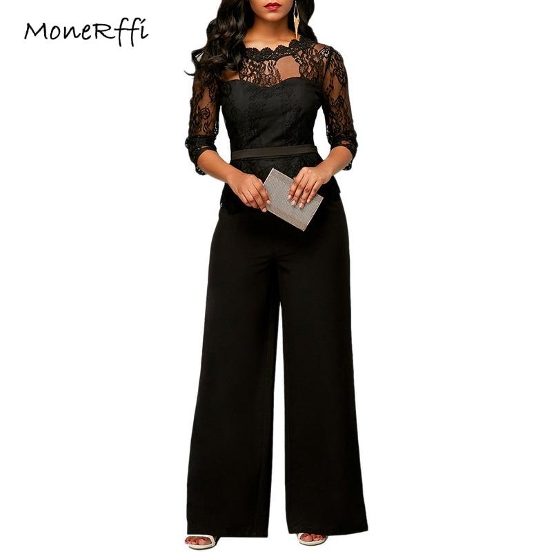 MoneRffi Women Pants Lace Jumpsuits Autumn High Waist 3/4 Sleeve -Piece Peplum Rompers Elegant Wide Leg Pants Plus Size 2018