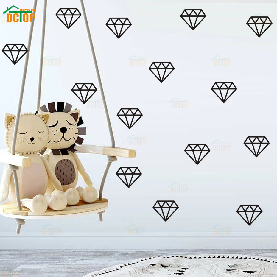 Décoration Murale Vinyle 34 Pcs Gold Diamond Vinyl Wall Stickers Removable For Kids Baby