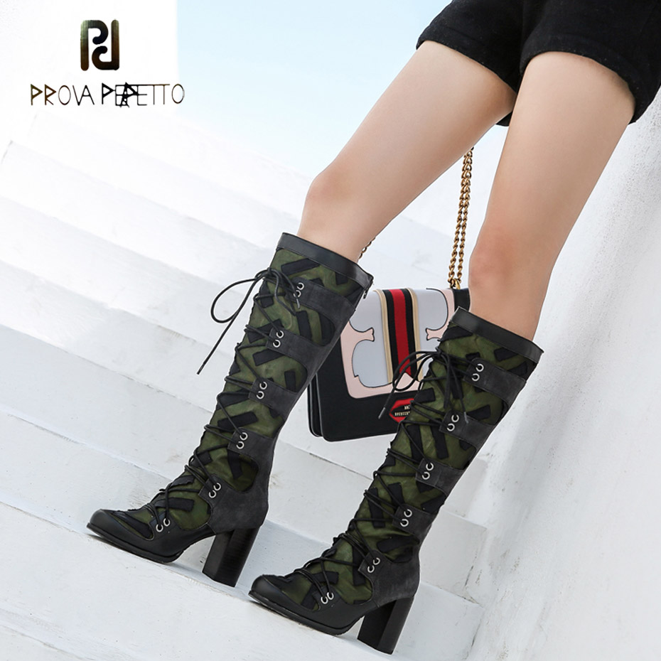 Prova Perfetto punk style women knee high boots suede leather patchwork cross tied motorcycle boots round toe zip chunky heels women irresistible suede color patchwork ankle boots round toe chunky heels classic side zip short boots new arrival this year