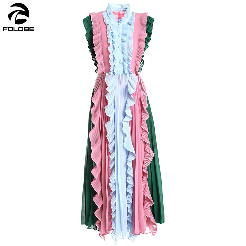 FOLOBE Fashion Summer Dress vestidos verano 2019 Patchwork Color Pleated Ruched Ruffles Dress Casual Holiday Party Dresses