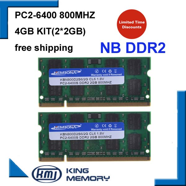 KEMBONA 4GB 2x2GB PC2-6400S DDR2-800 800Mhz 2gb 200pin DDR2 Laptop Memory 2G Notebook Module SODIMM RAM Free Shipping kembona full tested 128mb 8 pc6400 longdimm pc desktop ddr2 2gb ddr2 2g 800 mhz ram compatible all motherboards free shipping