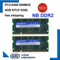 KEMBONA 4GB 2x2GB PC2 6400S DDR2 800 800Mhz 2gb 200pin DDR2 Laptop Memory 2G Notebook Module SODIMM RAM Free Shipping