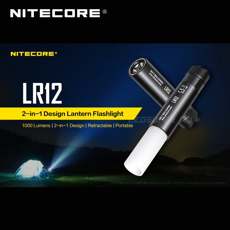 Hot Sale Nitecore LR12 2 in 1 Design CREE XP L HD V6 LED 1000 Lumens