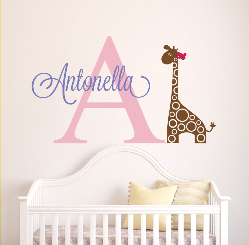 Personalized lovely elephant name wall stickers for kids for Custom wall mural decals