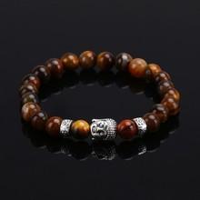 Tiger Eye Black Lava Stone Buddha Beads font b Bracelets b font Bangles Charm Natural Stone