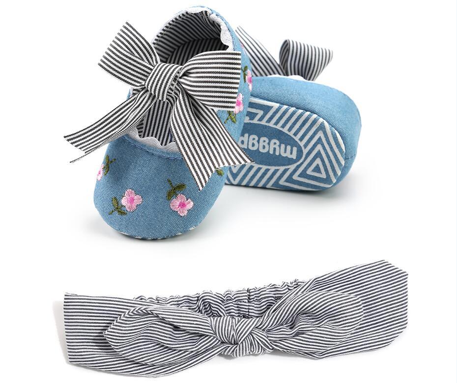 2020 New 2pcs/set Fashion Striped Headband + Newborn Baby Girl Shoes Princess Cotton Bow Soft Sole Moccasins Girl First Walker