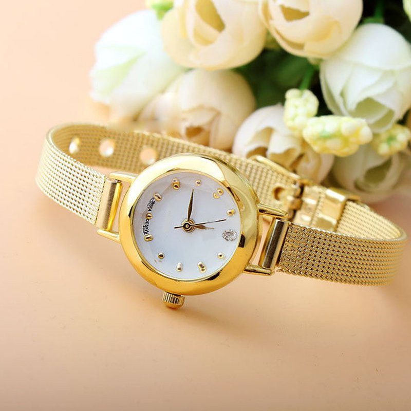 Dropshipping Golden Small Chic Relojes Dial Steel Band Quartz Wrist Watch Gift Girl Women Lady Watches