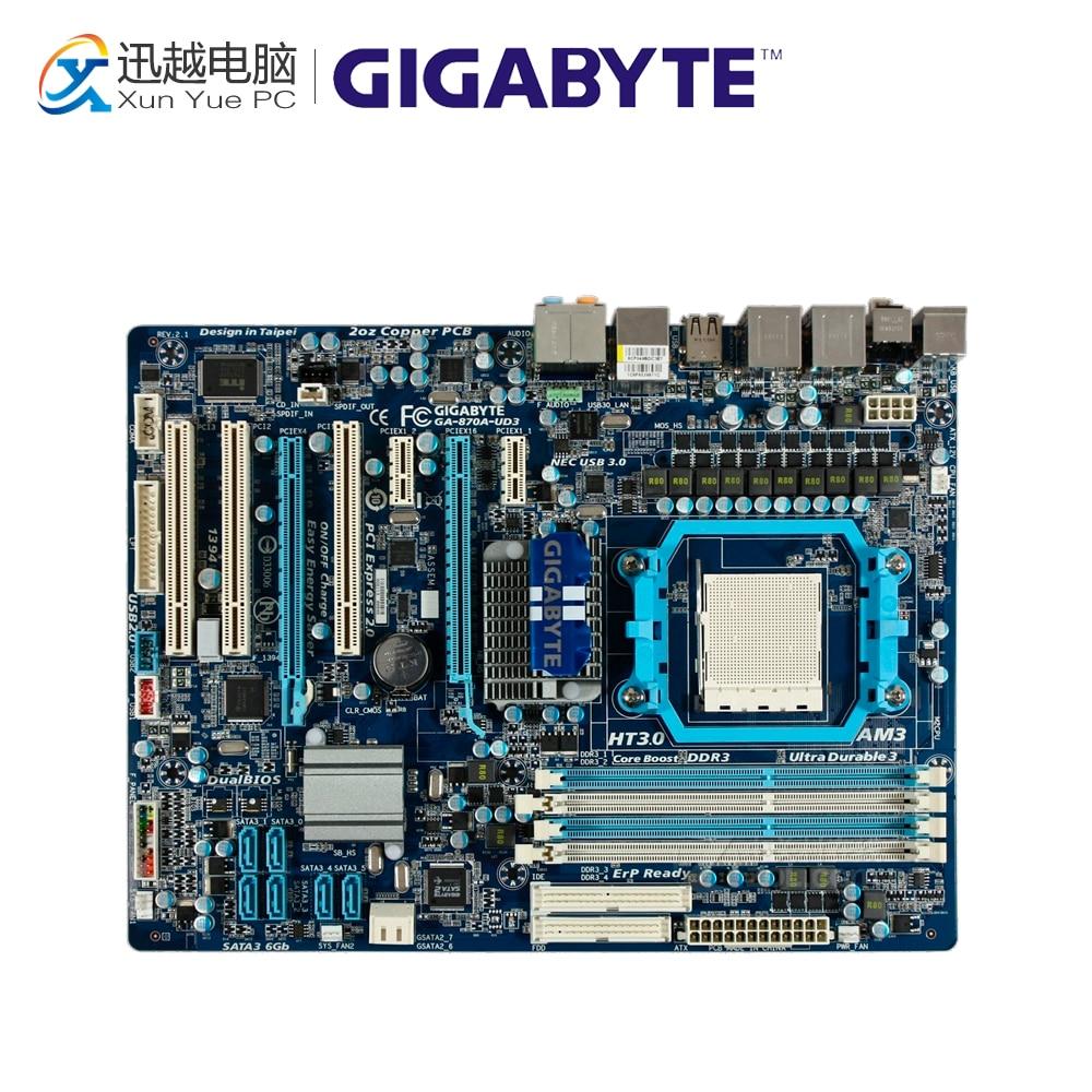 Gigabyte GA-870A-UD3 Desktop Motherboard 870 Socket AM3 DDR3 SATA3 USB3.0 ATX used motherboard mainboard for msi 870a fuzion socket am3 ddr3 16gb usb2 0 usb3 0 atx board