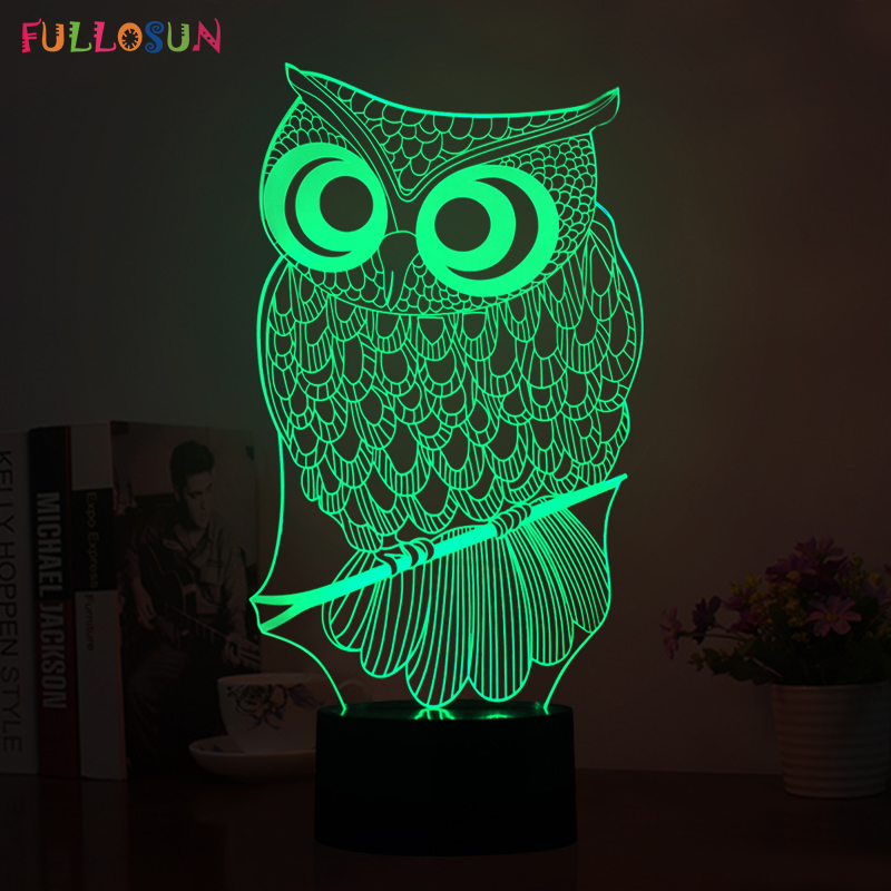 220V USB Power 3D Illusion Lamp LED Night Owl Night Lamp LED Animal Shape Colorful Flashing Table Lamp as Room Decorations 3d led lamp usb night love heart
