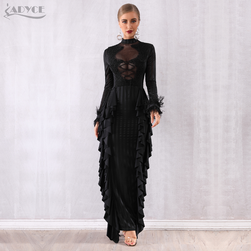 Adyce Maxi Women Ruffles Bodycon Celebrity Party Dress Vestidos Verano 2019 Sexy Long Sleeve Lace Pearls Lace Feather Club Dress