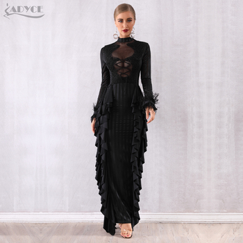 Adyce Maxi Women Ruffles Bodycon Celebrity Party Dress Vestidos Verano 2020 Sexy Long Sleeve Lace Pearls Lace Feather Club Dress
