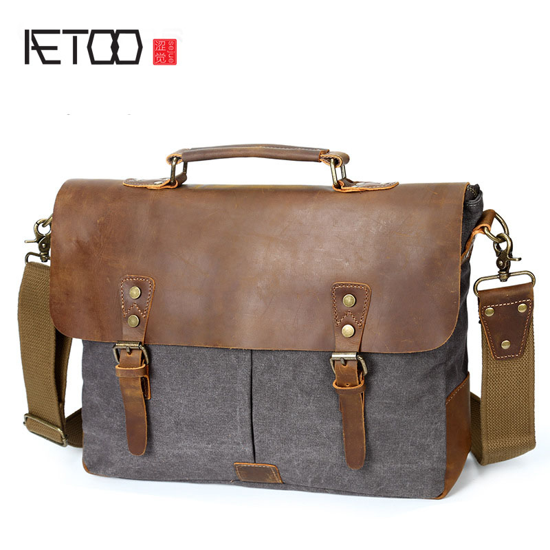 AETOO Men's Messenger Bag Official Canvas Bag Computer Shoulder Bag Retro With Mad Horse Leather Men's Bag spring and autumn new children s autumn clothing and pants suit long sleeve cotton baby underwear home clothing two piece suit