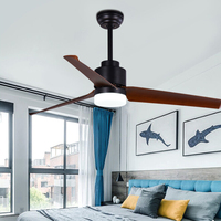 Vintage LED Ceiling Fan For Living Room 220V Wooden Ceiling Fans With Lights 51 Inch Blades Remote Fan Lamp